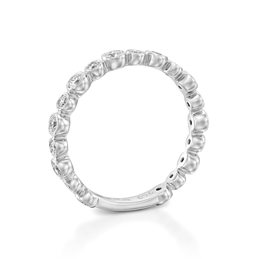 R3859-White gold Eternity Bubble diamond ring bezel ring