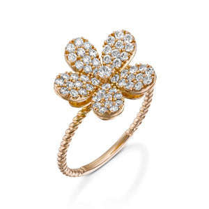 R3855-White gold Blooming Flower Diamond Ring