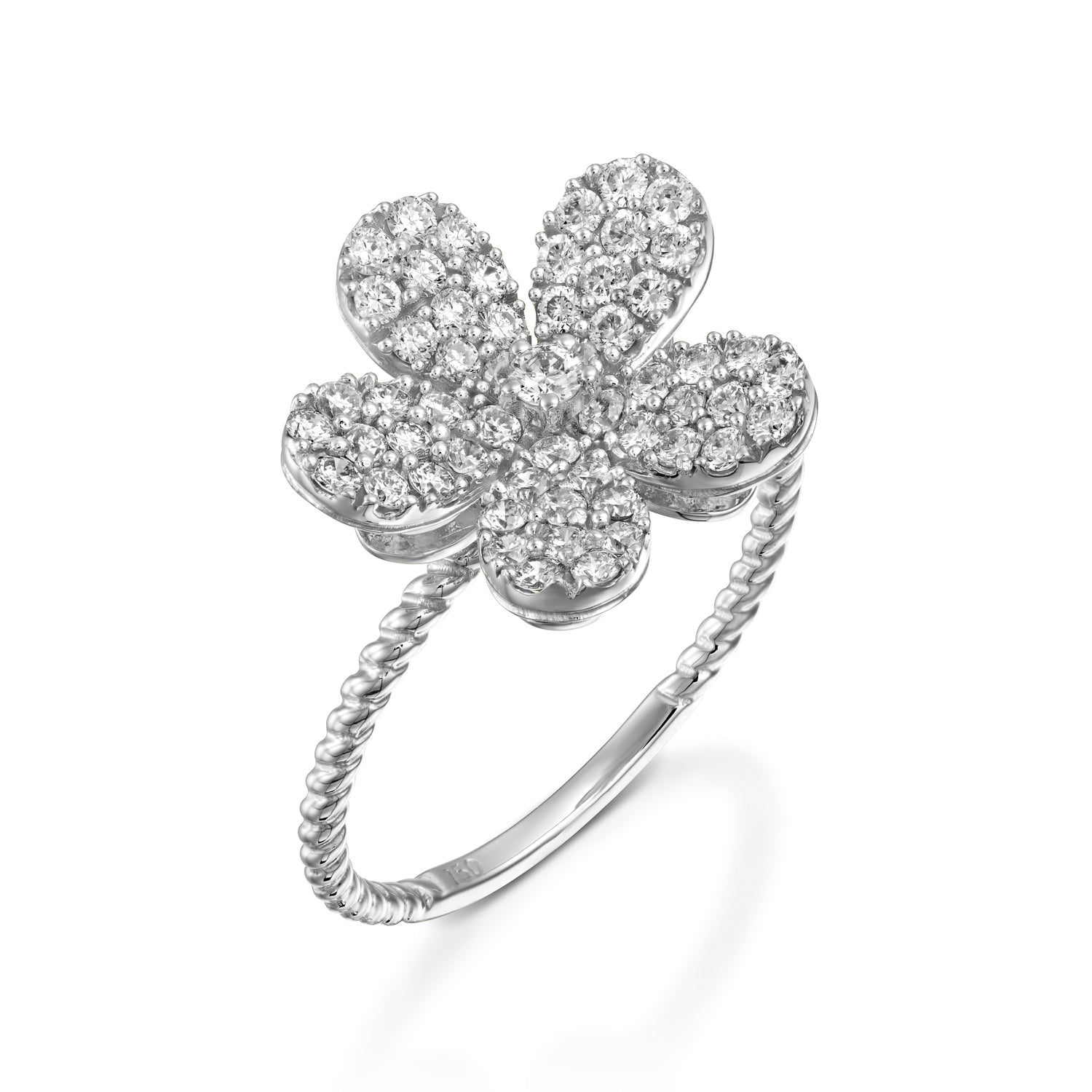 White Gold Blooming Flower Diamond Ring Olivacom