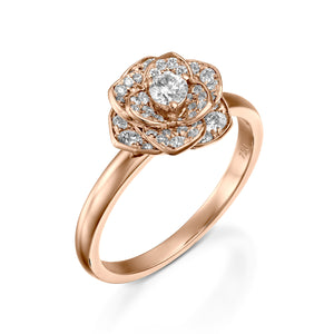 Bridal jewelry Flower gold diamond engagement ring