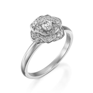 1/2 Carat Flower engagement ring set with Diamonds