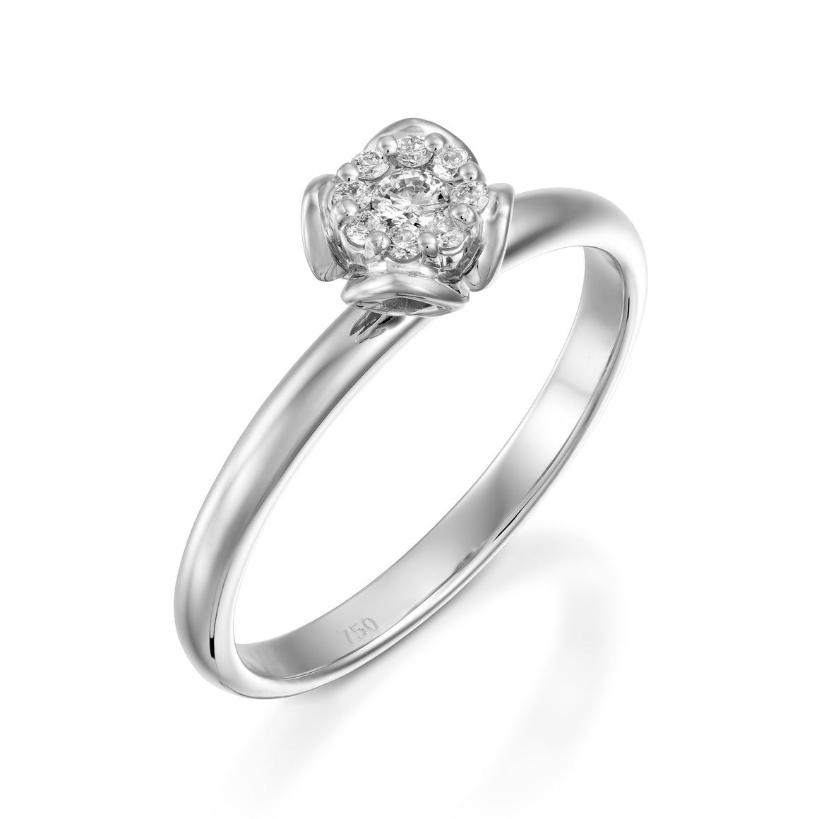 RS744AS-0.12 carat White gold flower diamond engagement ring for women - Petite Fleur