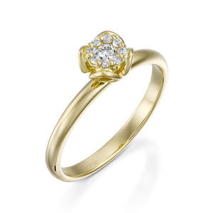 RS744AS-0.12 carat Yellow gold flower diamond engagement ring for women - Petite Fleur