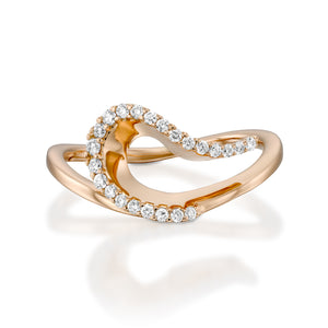 R3423ES-Modern engagement rings - wave shaped diamond ring