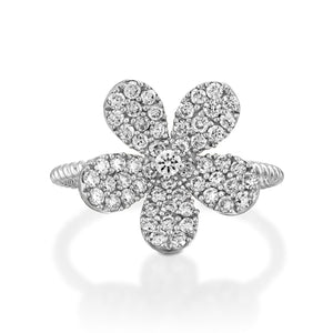 White gold Blooming Flower Diamond Ring