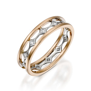Rose gold Diamond eternity band double diamond ring