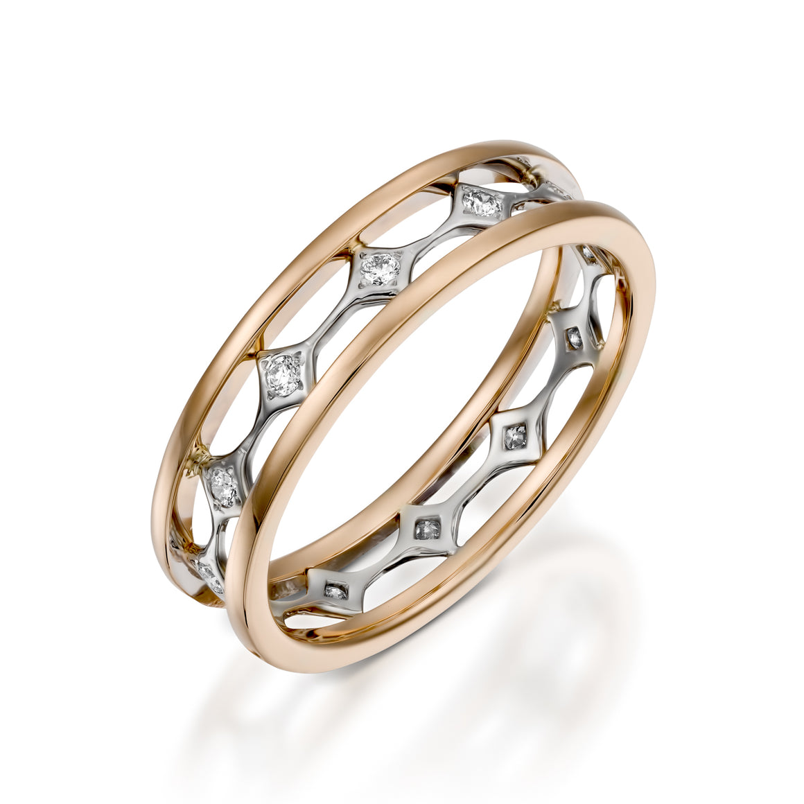 RWED100aDI-Rose gold Diamond eternity band double diamond ring