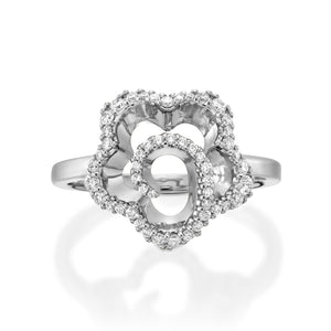 R3420ES-Diamond Floral Engagement Ring