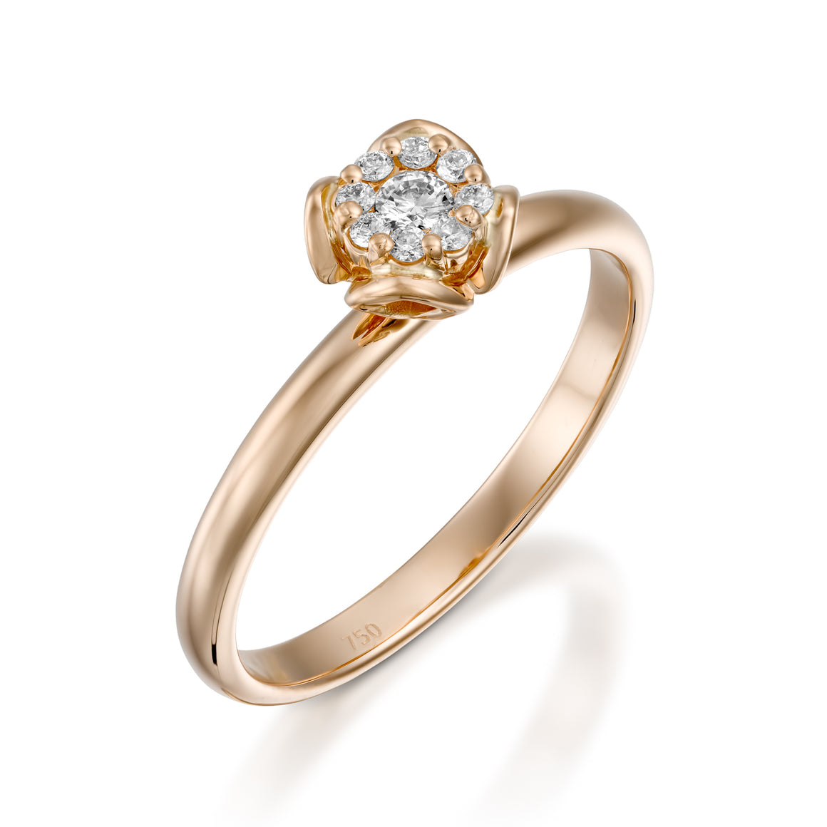 0.12 carat Rose gold flower diamond engagement ring for women - Petite Fleur