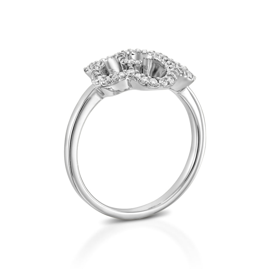 R3420ES-Unique flower engagement ring  18k gold