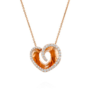 P3421ES-Heart diamond pendant necklace