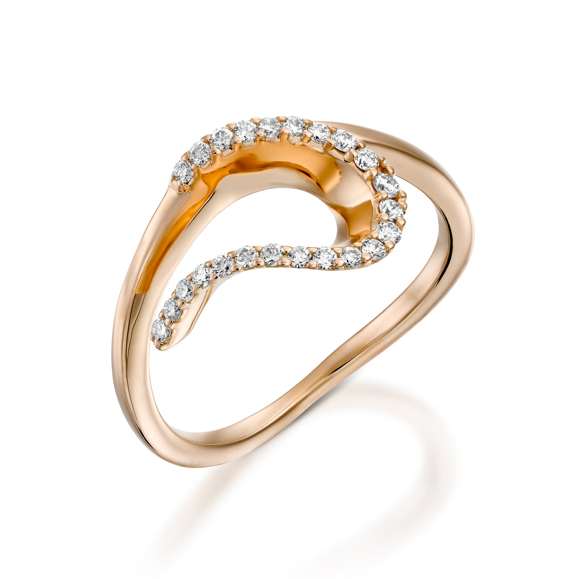 Modern engagement rings - wave shaped diamond ring