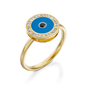 Yellow gold Diamond Evil eye ring