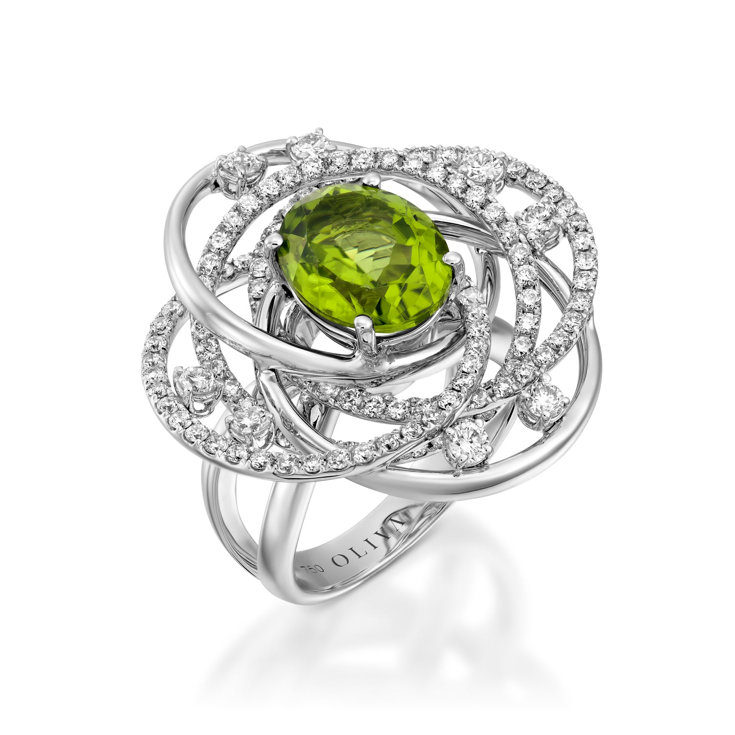 engagement inc wedding treasurly gold peridot floral ring yellow by natural in ye products rings oval cut diamond dima vintage
