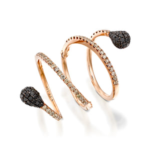Rose gold Spiral diamond ring with  black diamonds heads