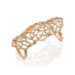 Red gold diamond filigree knuckle ring RNEJ13595