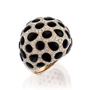3.46 Carat White gold onyx and diamonds Dome ring RNEJ8106