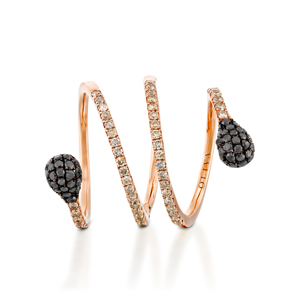 RNEJ14003-Rose gold Spiral diamond ring with  black diamonds heads