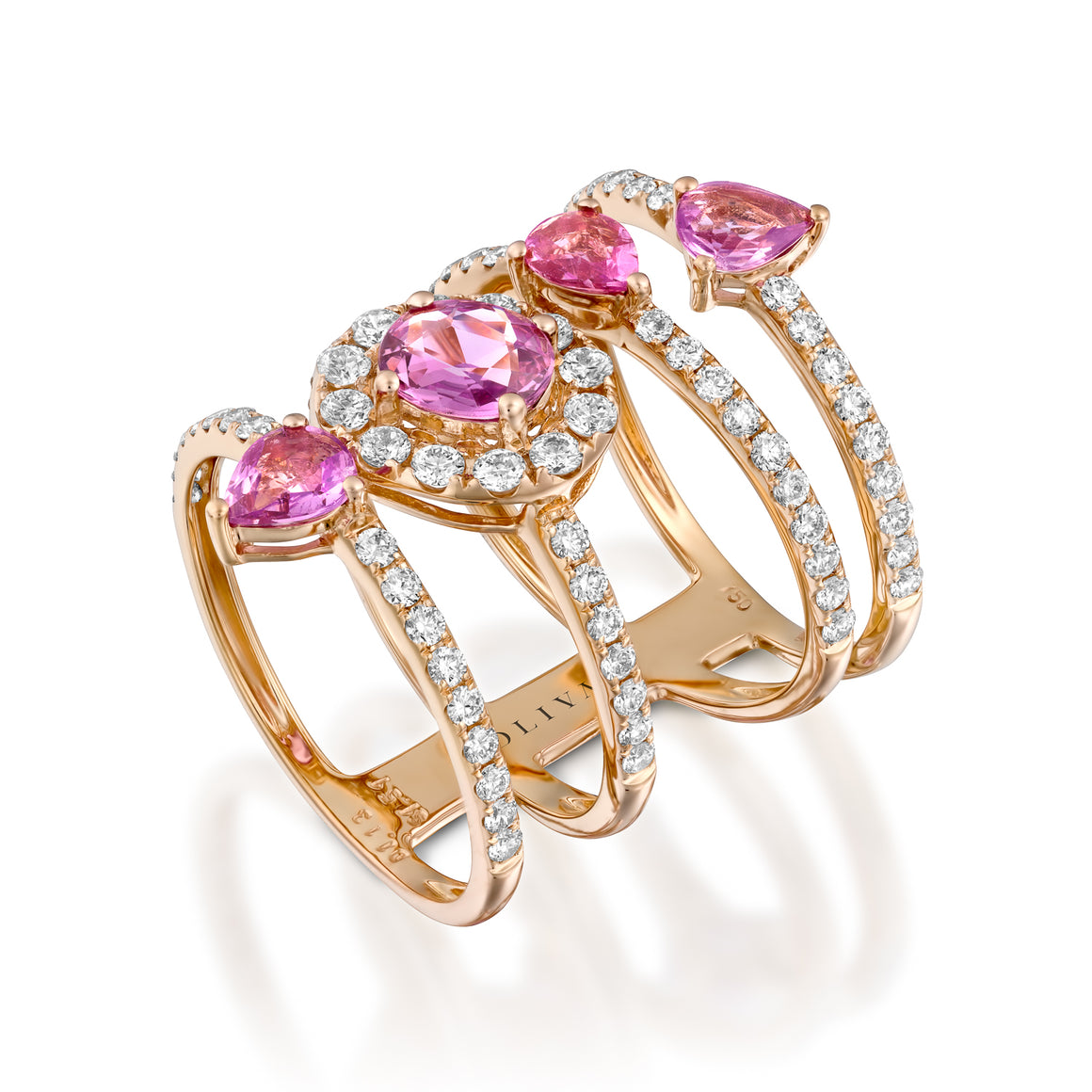 RNT13763-Pink Sapphire diamond multi Layered Ring ring in 18k Red gold