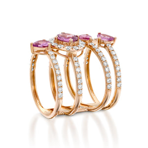 Pink Sapphire diamond multi Layered Ring ring in 18k Red gold