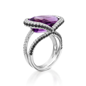 18k white gold Black and white Diamond amethyst ring - R8179