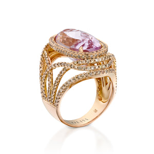 RNAT92518-Oval Art deco style diamond ring in red gold