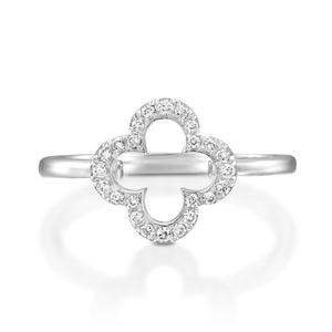 RVC401-18k Yellow gold Clover Quatrefoil Ring set with diamonds