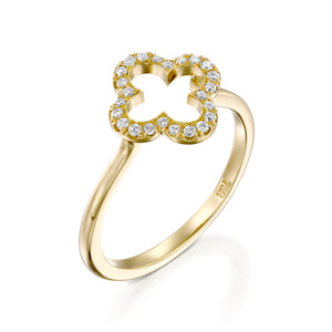 18k Yellow gold Clover Quatrefoil Ring set with diamonds