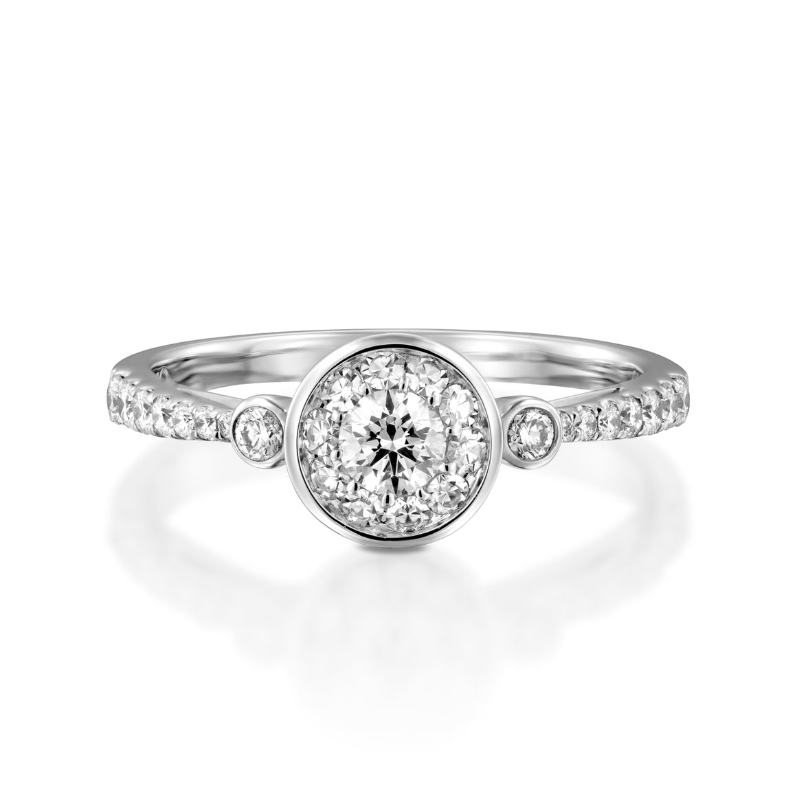 RNH564WC Engagement 18K White Ring -  Halo Ring