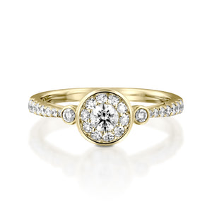 RNH564WC-18k  gold Oval Engagement Ring -   0.56 Carat Halo Diamond Ring
