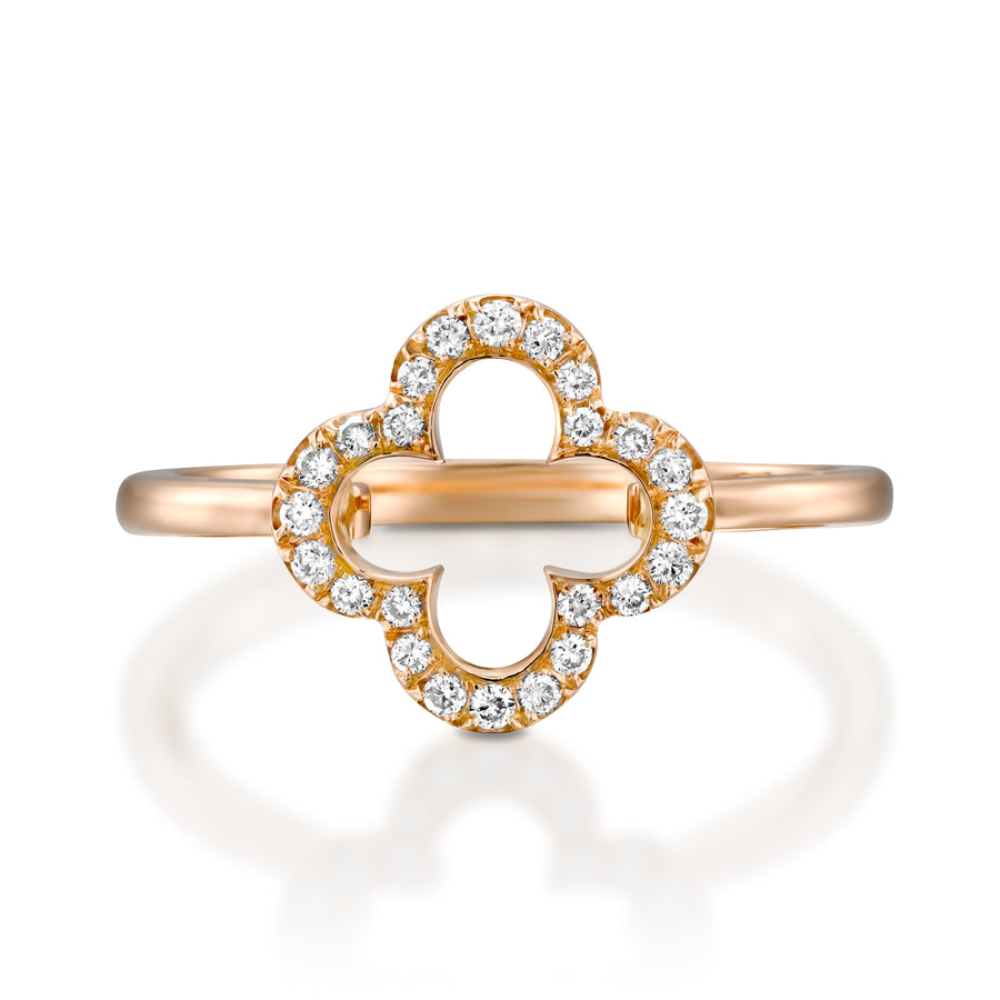 RVC401-18k Rose gold diamond luck Clover ring
