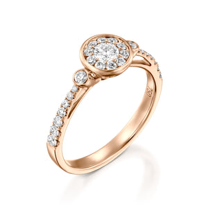 0.56 Carat Oval Engagement Ring -  Halo Ring - 18k Red gold