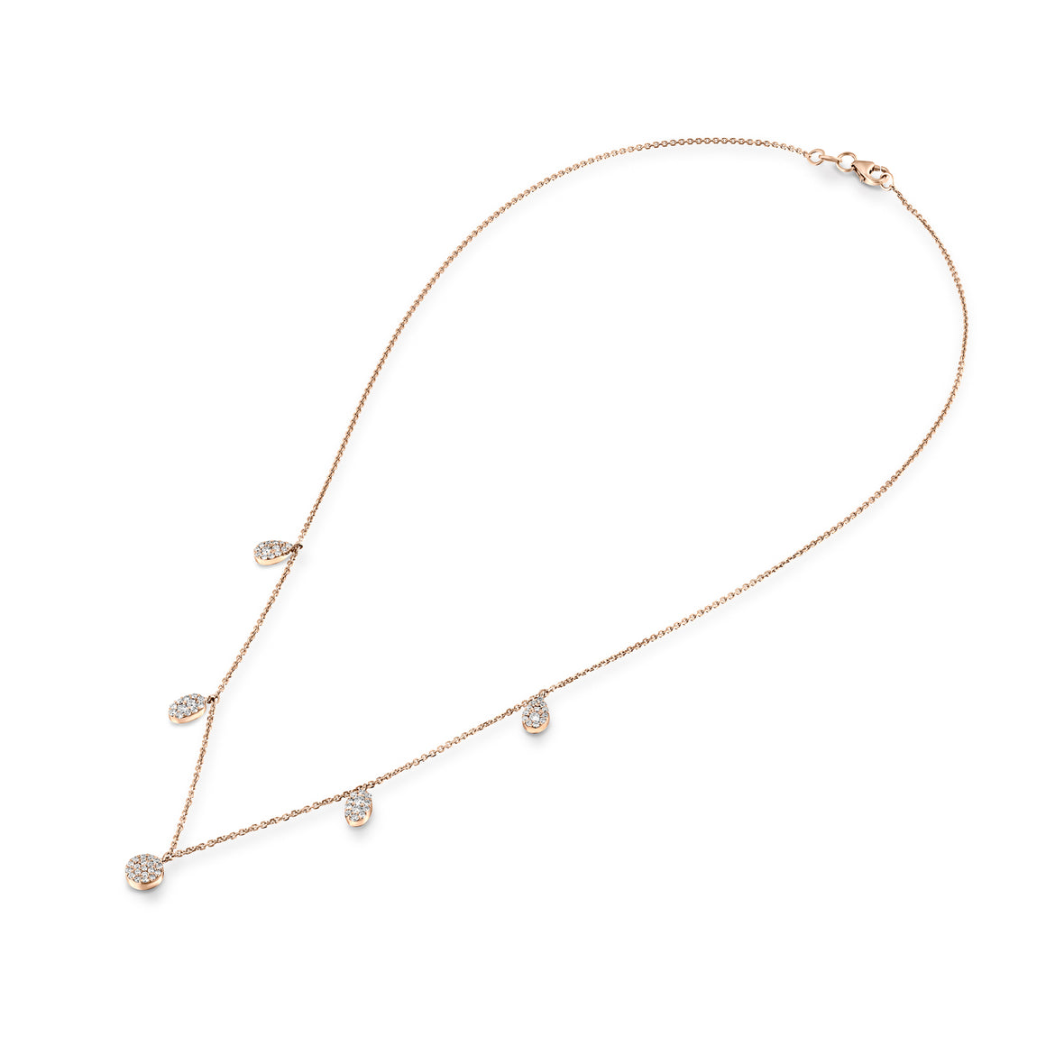 CEL003 diamonds Rose/yellow or white  Gold Choker Necklace