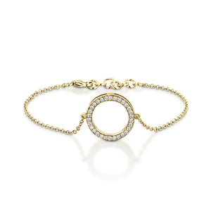 B9301-0.38 Cart Diamond chain bracelet with circle pendant - Yellow gold
