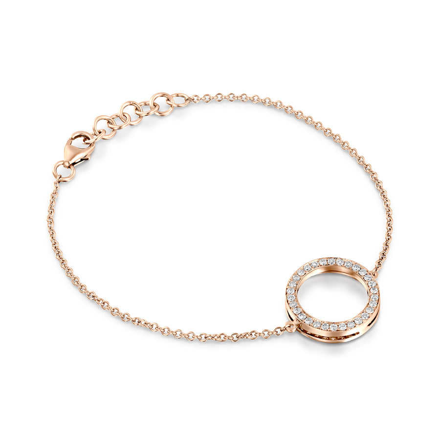 B9301-0.38 Cart Diamond chain bracelet with circle - rose gold
