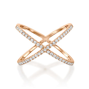 Criss Cross diamond  ring 0.3 Carat