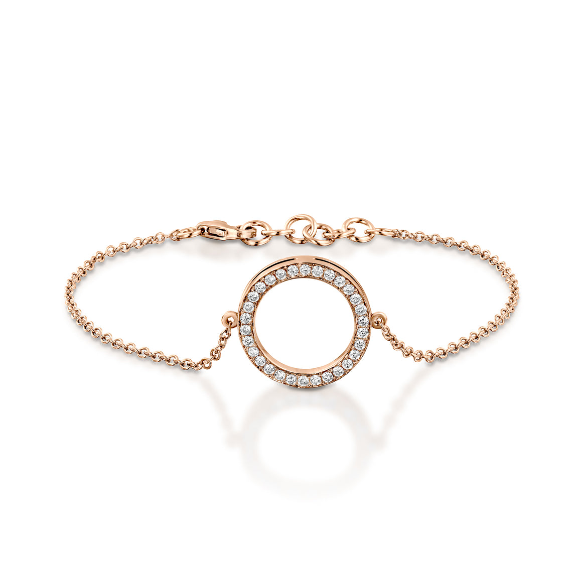 B9301-0.38 Cart Diamond chain bracelet with circle pendant - rose gold
