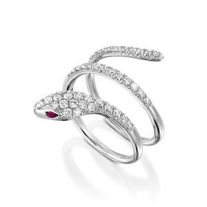 0.78 Ctw pavé Diamond & Ruby ring Gold Snake ring - RBEJ14681