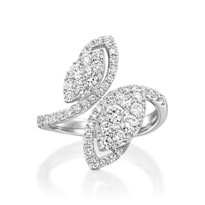 Diamond leaf engagement ring -RNR17486