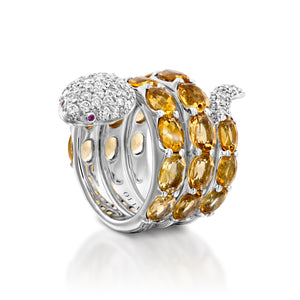 White gold and citrine gemstone snake ring  RNAT86619