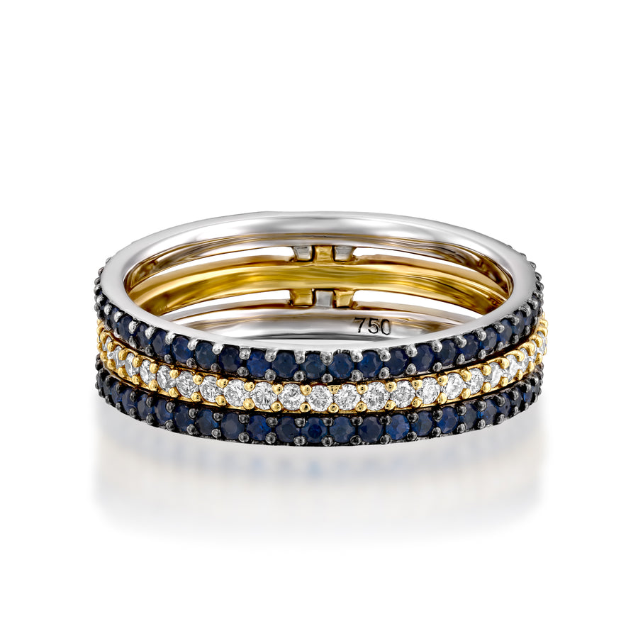 Full diamond  Eternity Wedding ring set