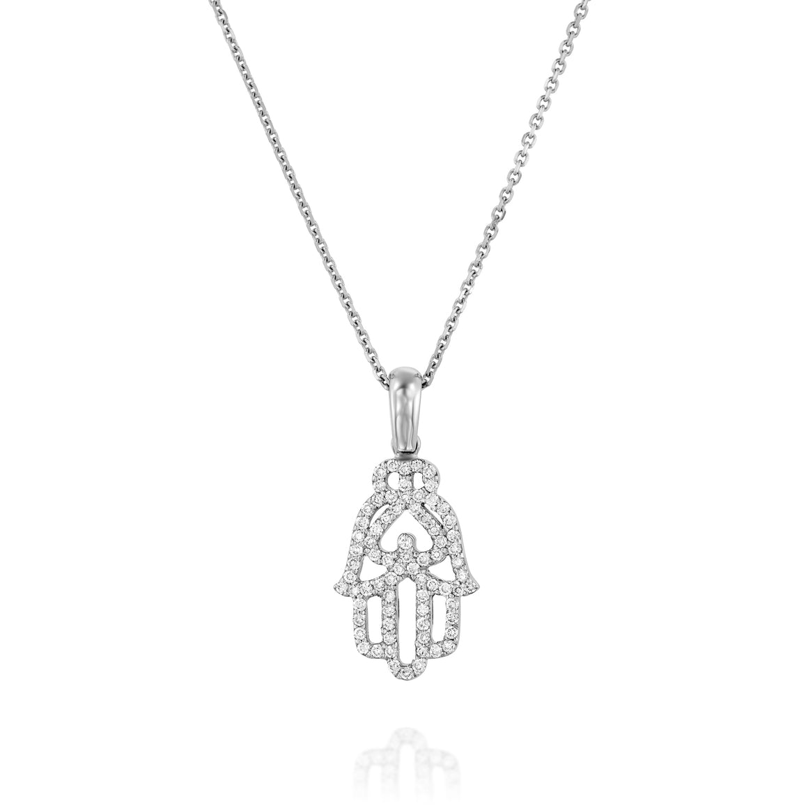 M0026  Diamond Hamsa Pendant Necklace