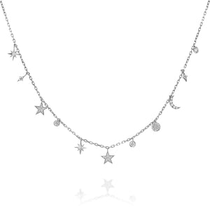 Celestial jewelry - Diamonds stars necklace pendant