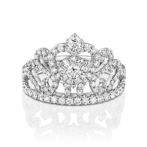 0.78 Carat Crown diamond ring in 18k white gold ring