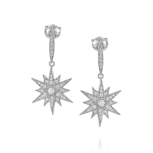 Star real diamond stud earrings dangle drop earrings - wedding earrings for brides - bridal jewellery