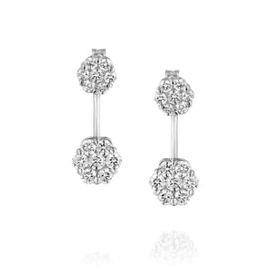 Brilliant Cut Diamond Bridal Wedding Flower Earrings