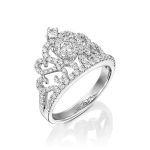 RNH663 Carat Crown diamond ring in 18k white gold ring
