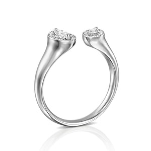 ROLM01-Marquise Halo Diamond Open Ring