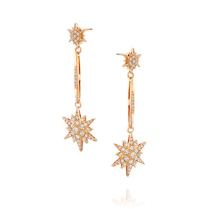 ESTAR8-2.53 Carat celestial diamond North Star earrings in 18k rose gold