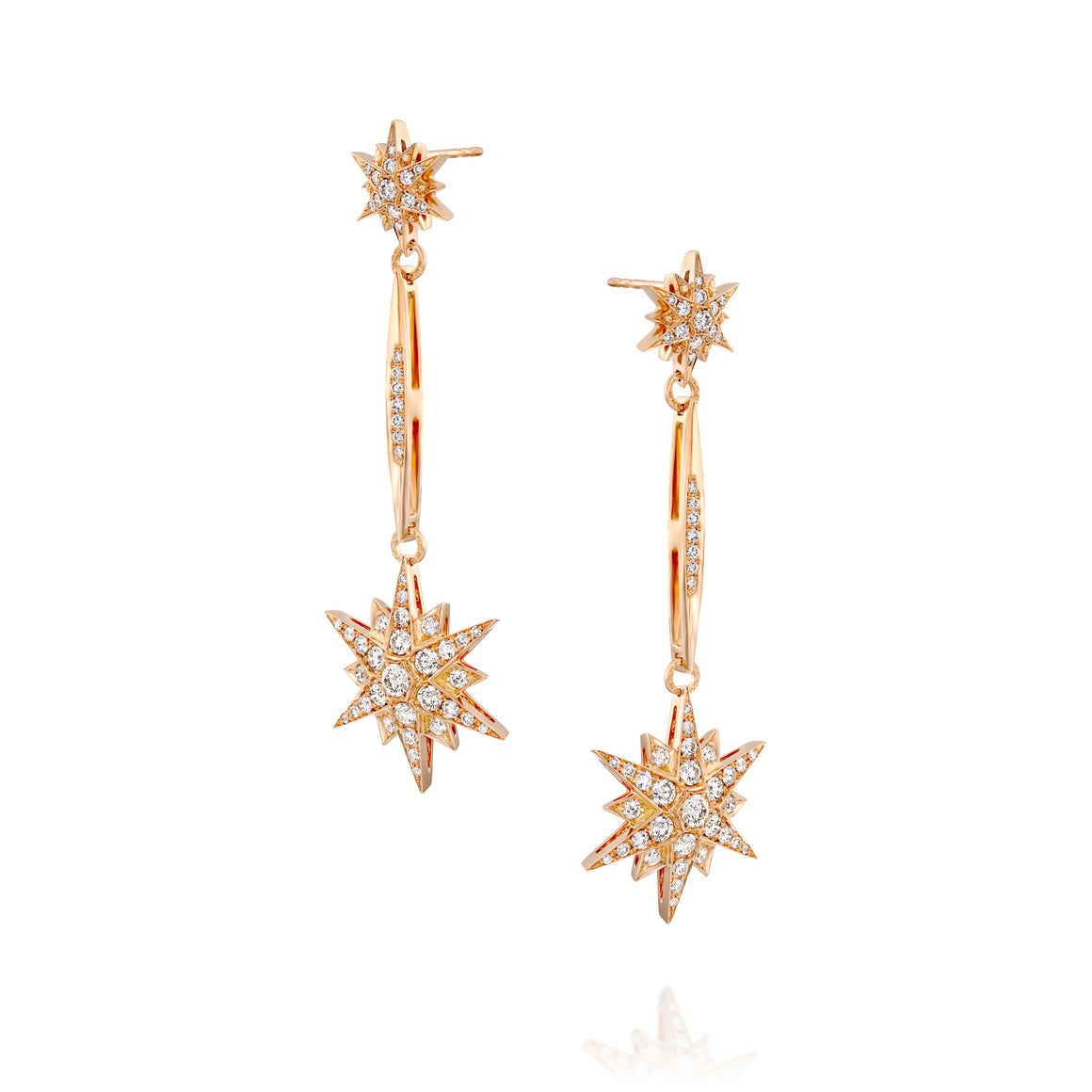 2.53 Carat celestial diamond North Star earrings in 18k rose gold